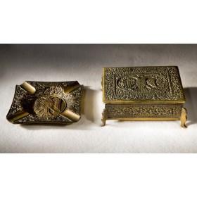 Антикварный портсигар и пепельница «Византия»