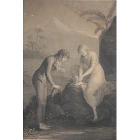 """Антикварная гравюра """"Отдых Вирджинии"""",Франция, 1796 г."""