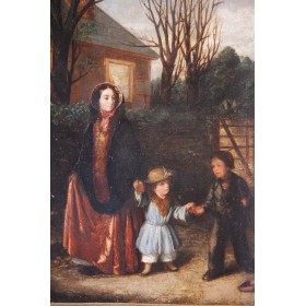 "Антикварная картина ""Пожертвование"" английского художника Augustus Edwin Mulready"