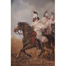 "3756 Антикварная картина ""Кавалерия"" французского художника Charles Ferdinand de la Roche"