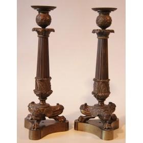 Старинные подсвечники из бронзы в стиле Ампир