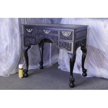 Старинный резной черный столик, георгианский антикварный стол
