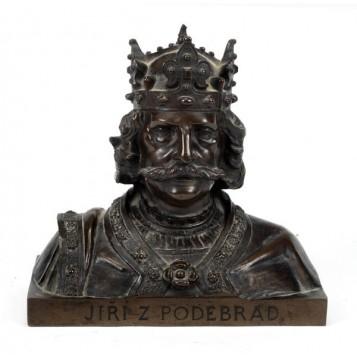Старинный бронзовый бюст короля Богемии Йиджи из Подебрад