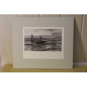 Антикварные гравюры на тему-морские пейзажи с кораблями
