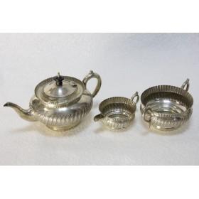 антикварная английская посеребренная посуда, набор из трех предметов