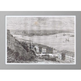 Нижний Новгород. Место впадения Оки в Волгу. 1880 год. Старинная гравюра
