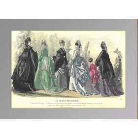Парижская мода. 1870 год. Антикварная гравюра, акварель.(N1534)
