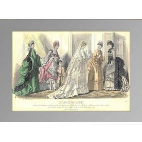 Парижская мода. 1870 год. Антикварная гравюра, акварель.(N1530)