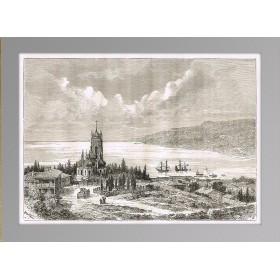 Крым. Ялта. Антикварная гравюра на дереве. 1880 год.