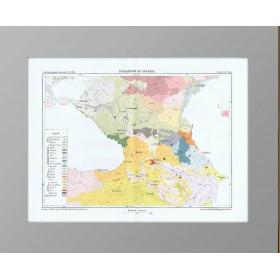 Этнографическая карта Кавказа 19 века.  1880 год