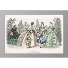 Женская мода. Антикварная гравюра. 1860 год. Сентябрь