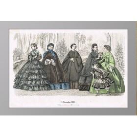 Женская мода. Антикварная гравюра. 1860 год. Декабрь.