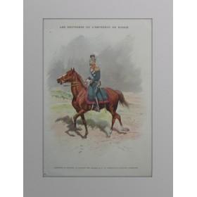Антикварная литография 1901 года с изображением Николая II  в форме лейб-гвардии Уланскаго её величества полка