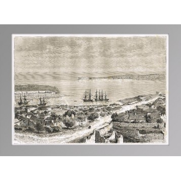 Севастопольская бухта. Крым: 1880 год. Старинная гравюра на дереве.