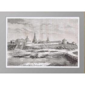 Казанский кремль на старинной гравюре. 1880 год.