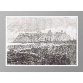 Старинная французская гравюра 1880 года с видом на Тобольск.