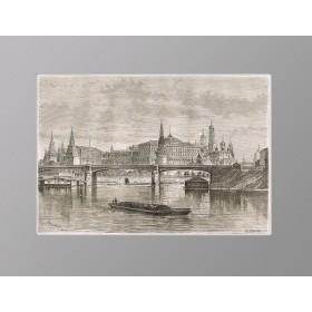 Антикварная гравюра 1880 года с Видом на Кремль и Москва-реку