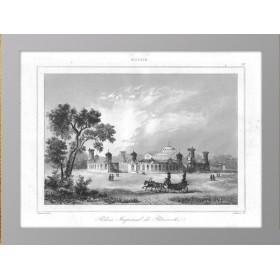Старинная гравюра 1838 года с видом на Петровский путевой дворец в Москве