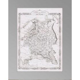 Старинная карта 1855 года с изображением роста России в Европе от Петра I .Rapkin