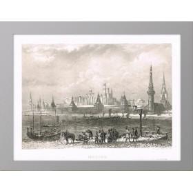 Старинная гравюра 1853 года с видом на Кремль и Москва-реку, Руарг.