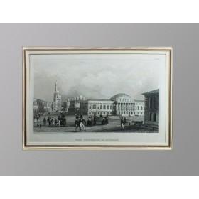 Антикварная гравюра 1936 года с изображением Арсенала Московского Кремля