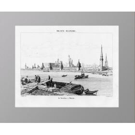 Антикварная гравюра 1839 года с видом на Кремль и Москву-реку