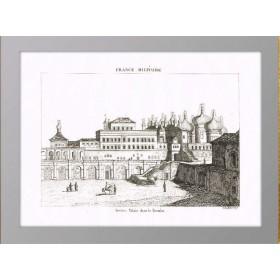 Старинная гравюра 1839 года с видом на Московский Кремль. Теремной дворец.