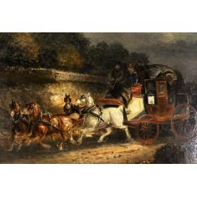Купить старинную английскую живопись 19 века подарок и в интерьер Экипаж