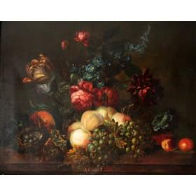 Старинная картина Натюрморт с фруктами и цветами начала 19 века