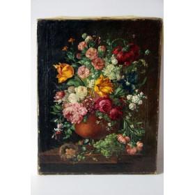Парный старинный голландский натюрморт с цветами купить в подарок и в интерьер