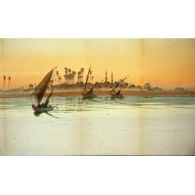"""Антикварная картина """"На реке"""" английского художника 19 века Ф. Гудал"""