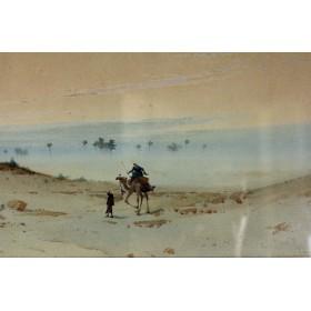 """Антикварная английская парная акварель """"Пустынный пейзаж """" 19 века на тему Востока"""
