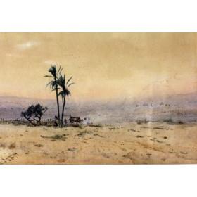 """Старинная английская парная акварель """"Арабская пустыня"""" на тему Востока"""