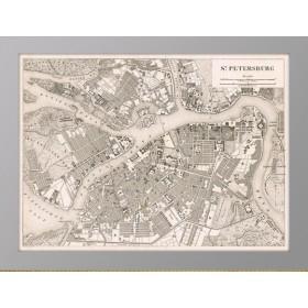 Старинная карта 1844 года Peterburg Heck