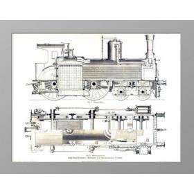 Локомотив. Внешний вид и разрез. 1886 год. Антикварная гравюра на дереве