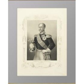 Антикварная гравюра 1856 года с изображением портрета Императора Николая I