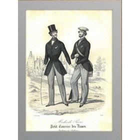 Антикварная гравюра 1845 года с изображением Мужской моды, Август
