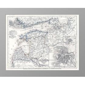 Антикварная карта 1849 года. Финский залив, Петербург и Царское село
