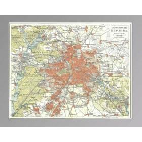 План города. Берлин и его окрестности. Литография 1899 года.