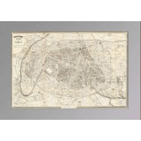 Париж. План города с железнодорожными путями.Антикварная гравюра 1890 года.
