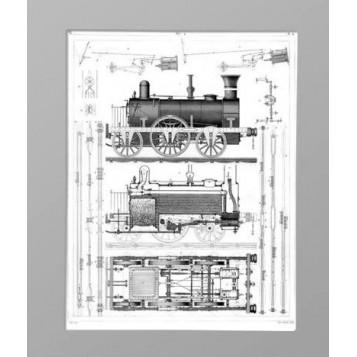 Старинная гравюра в подарок Локомотив, внешний вид и устройство. 1851 г.