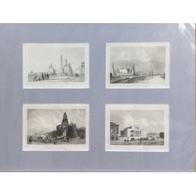 Антикварные гравюры 1838 года с изображением видов Москвы(набор №2)