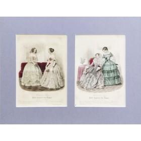 Антикварная гравюра 1847 года с изображением Парижской весенней моды.