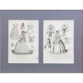 Антикварная гравюра 1855 года с изображением Парижской моды для дам (март и сентябрь)