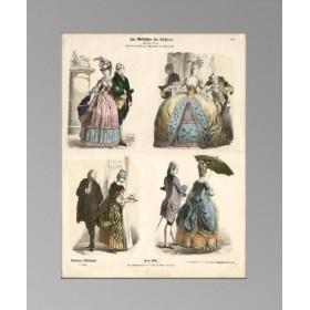 Мода второй трети XVIII века в старинной гравюре 1890 года