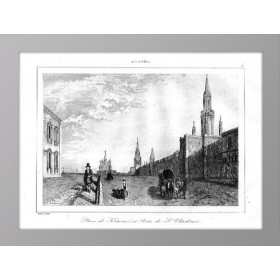 Вид на Красную площадь и Владимирские ворота  в Москве в антикварной гравюре 1838 года