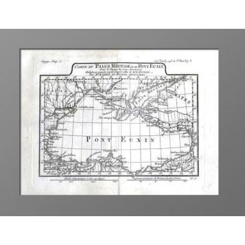 Антикварная Карта Черного и Азовского морей к путешествию Анахарсиса.1781г.