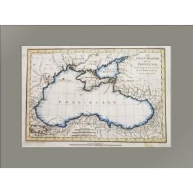 Старинная историческая карта Чёрного и Азовского морей, Крыма с античной греческой топонимикой. 1781 г.