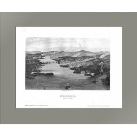 Продается старинная гравюра 1857 года Крым. Севастопольская бухта