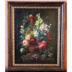 Парный антикварный голландский натюрморт начала 19 века с цветами в подарок и в интерьер